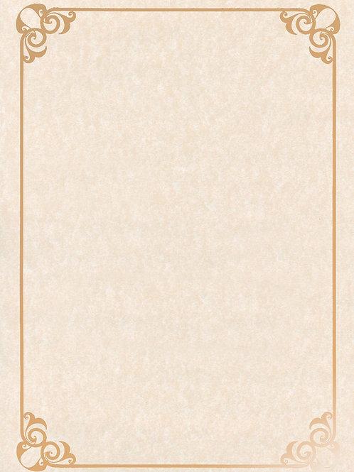 A4 Natural Parchment Testa'mur with Gold Foil Border  (5237)
