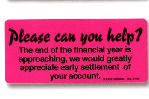 End of Financial Year Pink Account Stickers  (1140)