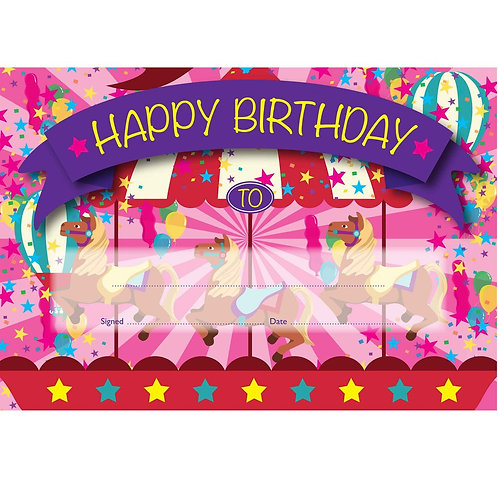 50pk Happy Birthday Pink Carousel Certificates  (5532)