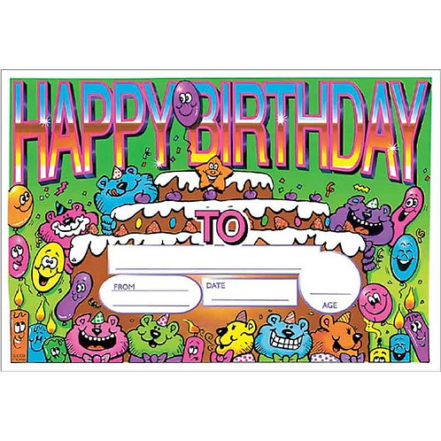 25pk Happy Birthday Cake Certificates  (5511)