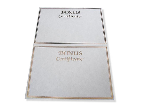 A4 Double Bonus Certificate Testa'mur with Gold Foil  (2502)
