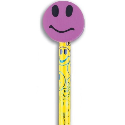 Purple Smiley Face Pencil with Eraser  (53009)