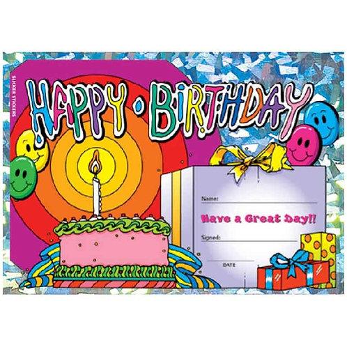 25pk Happy Birthday Cake & Presents Certificates  (5521)