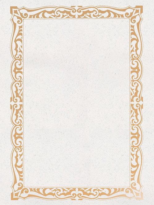A4 White Fibre Fleck Testa'mur with Gold Foil Border  (5236)