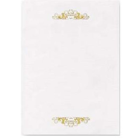 A4 White Antique Testa'mur with Gold Foil  (8055)