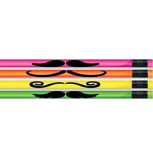 12pk Neon Mustache Pencils  (52221)
