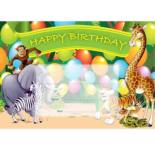 25pk Happy Birthday Zoo Certificates  (5541)