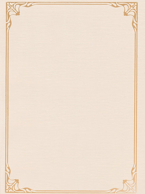 A4 Natural Antique Testa'mur with Gold Foil Border  (5234)