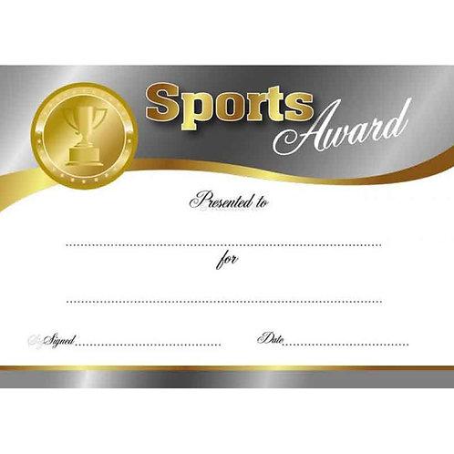 25pk Sports Award Certificate  (6020)