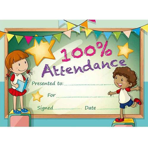 20pk 100% Attendance Certificates  (5496)