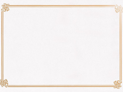 A4 White Textured Testa'mur with Gold Foil Border  (5231)
