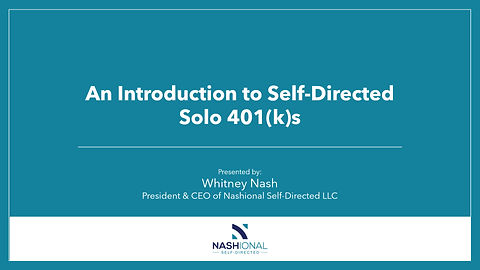 Self-Directed Solo 401(k) Information for CPAs