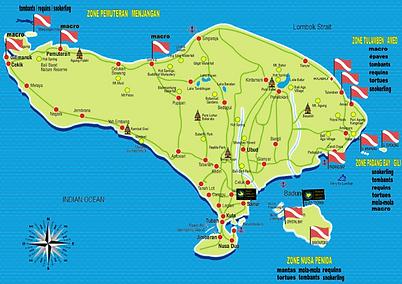 map best diving spot bali