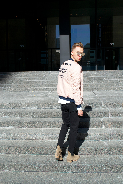 Noie Fashion: Blush Pink Bomber Jacket