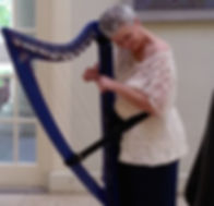 Preparing for harp concert at the library