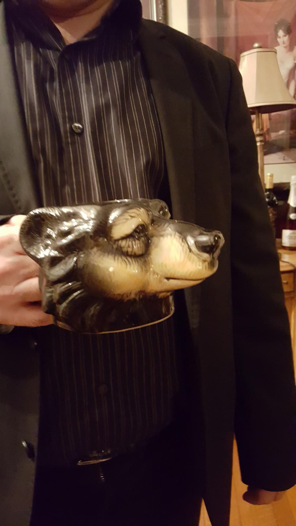 wolf mug closeup