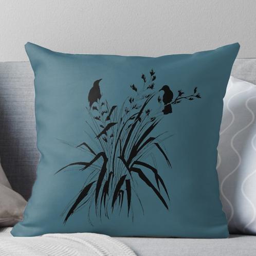 'Harakeke'' Throw Pillow in Blue