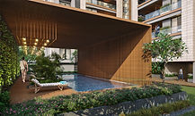 A plush commercial residential development in Surat. The landscape has a minimalist modern theme, and integrates all residential amenities.
