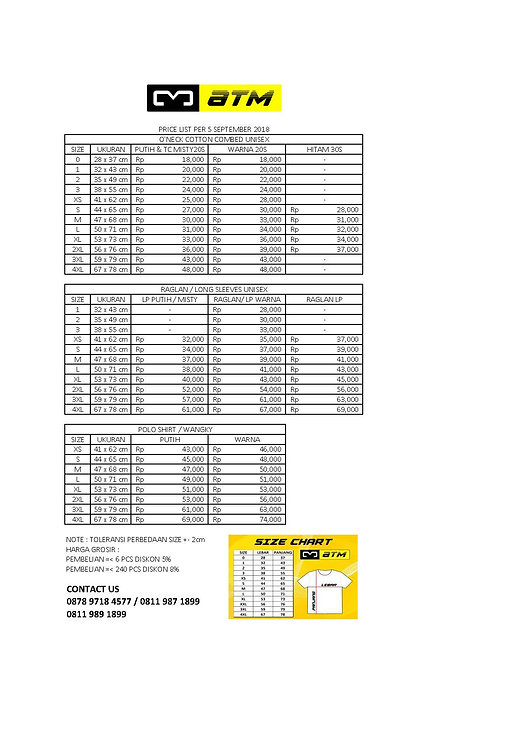 price list harga baru atm 7 agustus 2018