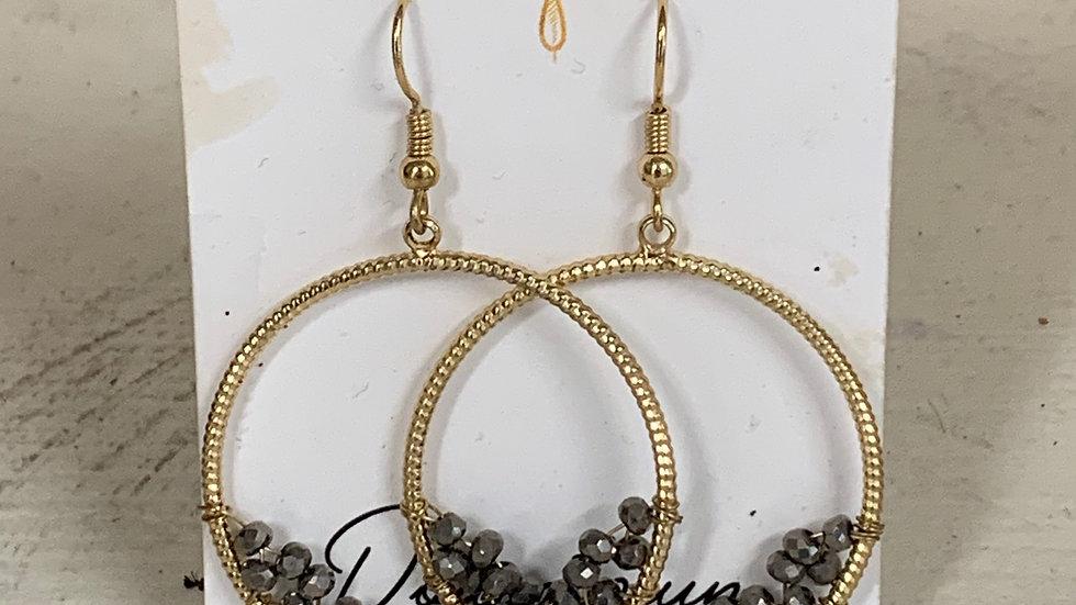 Round Hoop Druzy Earrings