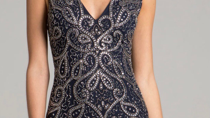 Navy & Gold Beaded Cocktail Dress