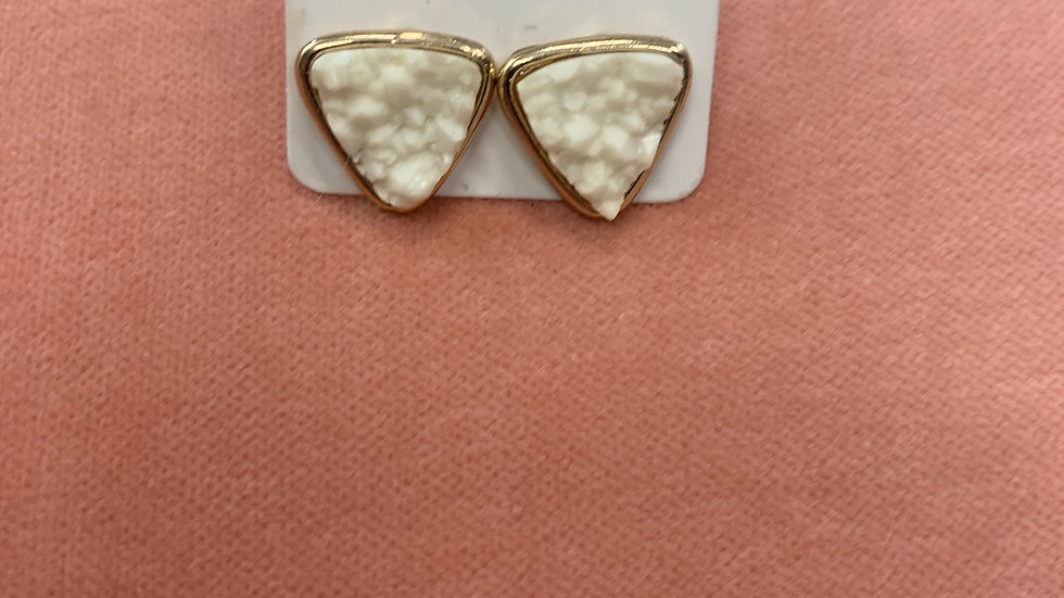 Druzy Triangle Stud Earrings