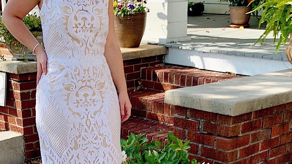 Flair Gown White Sequins on Nude