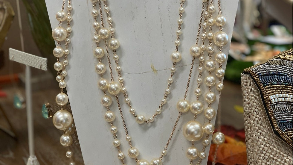Layered Pearl Necklace with Matching Earrings