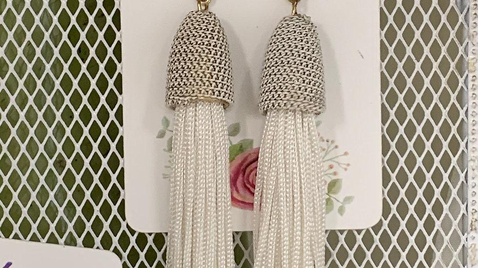 Tassel and Chain Earrings White