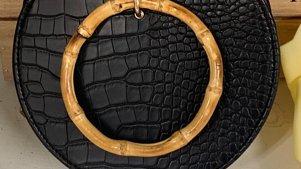 Black Croc Pattern & Bamboo Bag