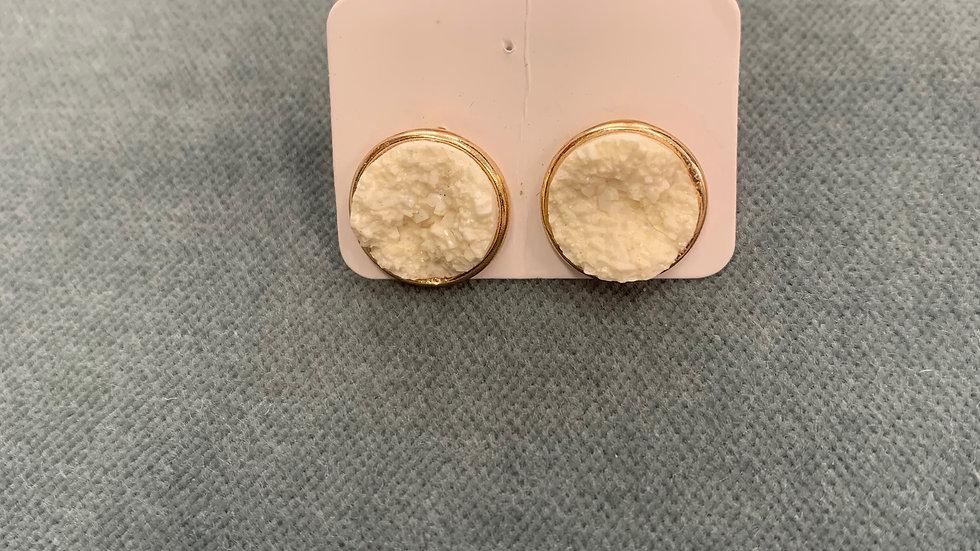 Druzy Circle Stud Earrings