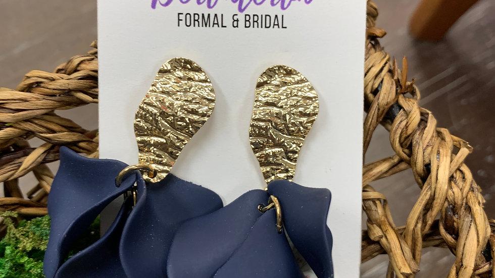 Floral Dangle Gold Earrings