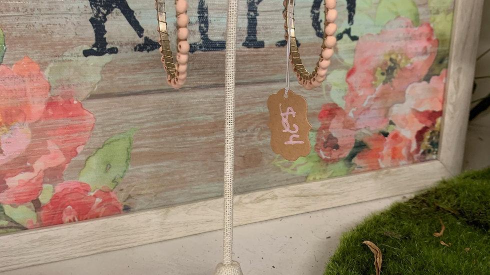 Beaded Wood Hoop Earrings