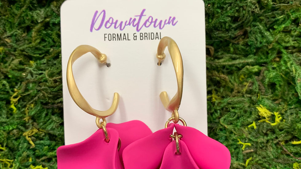 Floral Gold Hoop Dangel Earrings