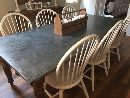 zinc dining table