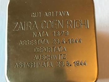 Una pietra d'inciampo nel cuore di Sassari, per ricordare Zaira Coen Righi