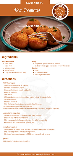 Single page_ Ham Croquettes Recipe Card.