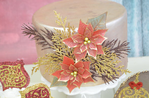 Gold Leaed Poinsettia Wafer Paper Project