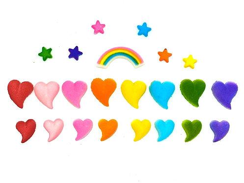 Sugar Teardrop Hearts & Stars (22 Pieces)