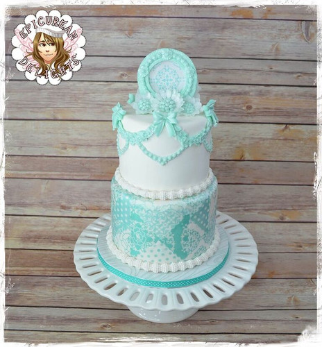 Tiffany Colors Inspired Wedding cake