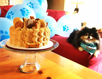 Doggie Cake with Peanut Butter Greek Yogurt Icing