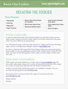 Supply List for Creating Rustic Chic Cookies