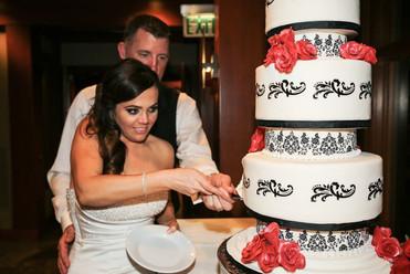 Black, White and Red Damask Wedding Cake