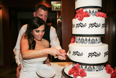 Black, White and Red Damask Wedding Cake