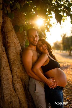 צילומי הריון זוגיים בשקיעה
