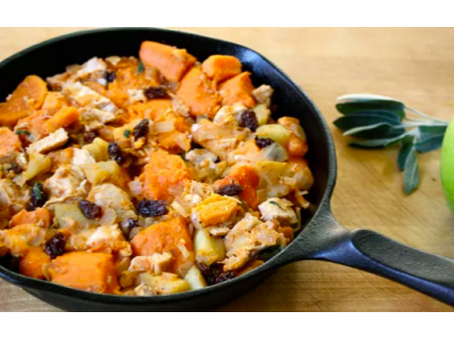 Hearty Chicken, Sweet Potato, and Apple Skillet Hash