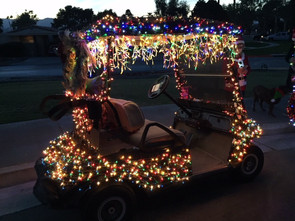 Golf Cart Christmas Decorations.Merry Christmas In July
