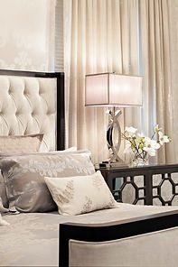 bedroom, cream wood, elegance, class, pillows, soft, luxury, lamp
