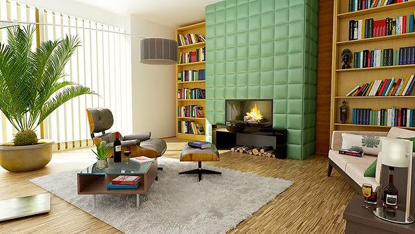 modern, sleek, fireplace, books, shelves, eames, designer, table, ottoman