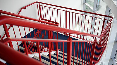 Stairs, red, balustrade, commercial